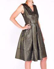 Closet Metallic V-Neck Sleeveless Polka Pleated Dress 8