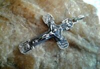 """STERLING SILVER """"925"""" CATHOLIC CRUCIFIX with OUR LADY OF LOURDES, ST. BERNADETTE"""
