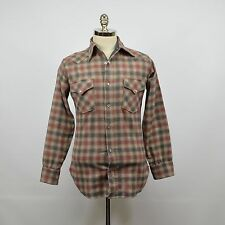 Vintage PENDLETON M's Western Wool Grey Blue Red Plaid SHIRT Pearl Snaps SMALL
