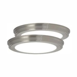 Commercial Electric 13 in. Brushed Nickel LED Ceiling Flush Mount 2-Pack