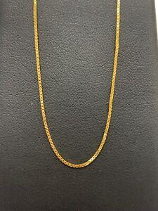 18ct 18K Yellow Gold Italian Fine Box Link Bracelet 1.4 Grams 18cm. Brand New