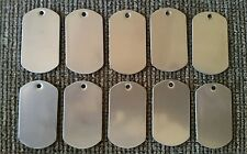 10 LOT BLANK Military STAINLESS STEEL DOG Tag, TAGS KEY PET, VETERAN OWNED STORE