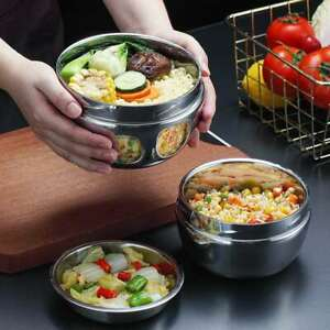 1L Double Layer Bento Thermos Lunch Box Food Container Round Stainless Steel
