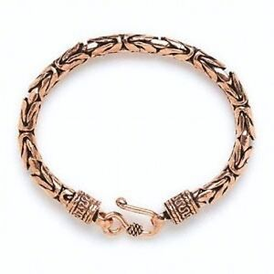 Stylish Handcrafted Antiqued Solid Copper Byzantine Chain Bracelet 7.5 inches