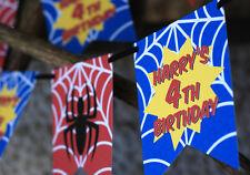 PERSONALISED SPIDERMAN BUNTING SUPERHERO BATMAN MARVEL COMIC PARTY BANNER COOL!