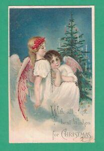1906 CHRISTMAS POSTCARD ANGEL GIRLS TREE CANDLES TINSEL