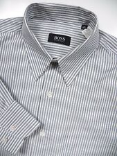 HUGO BOSS MENS 15.5 MEDIUM 34.5 LUXURY DRESS SHIRT STYLISH GREY WHITE STRIPE LUX