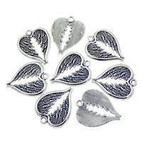 20 pcs Handicraft Vintage Silver Alloy Heart Shaped Wing Craft Pendant 30x24mm