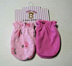 Scratch Mittens By Honey Baby, Girl, 2 Pack, Pink & Floral Print, 0-9 Mos., New