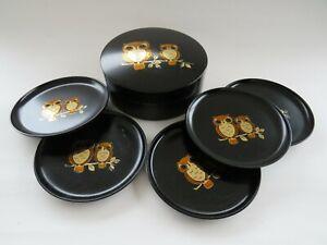 Vintage Set of Otagiri Coasters  Gold Owls with case