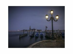 Street Lamp at Night in Venice's Grand Canal Italy Art Wall Decor Print 3