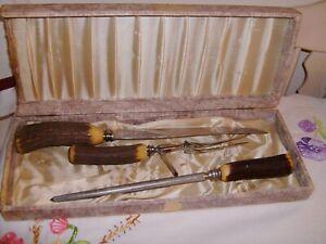 Vintage Sheffield Stag Antler Handles Carving Set Knife Ford Sharpener 3 Pc Set