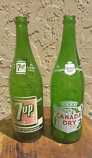 VINTAGE 1961 CANADA DRY AND 7UP 1 PINT 12 OZ BOTTLES GREEN PYRO 2 SIDE NMMT NICE