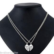 2 Colliers Chaîne Pendentif Coeur Best Friend Bijoux Fantaisie Cadeau 53cm