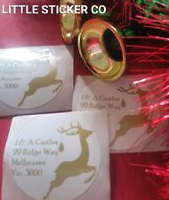 Christmas Stickers Return address labels personalised gloss circles x 50
