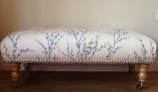 A Quality Long Footstool In Laura Ashley Pussy Willow Seaspray Off White Fabric