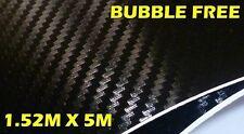 3D Fibra di Carbonio Senza Bolle Vinile Rotolo Pieno Car Wrap 1.52M x 5M Nero