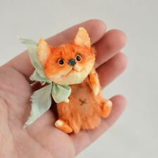 OOAK handmade artist fox, mixed technique, 2 1/3in.