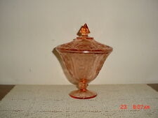 """FEDERAL DEPRESSION GLASS """"PINK"""" 7 1/2"""" SHARON/CABBAGE ROSE CANDY DISH/SOLD AS IS"""