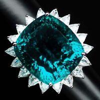 PARAIBA BLUE GREEN APATITE CONCAVE MAIN STONE 27.20 CT.SAPP 925 SILVER RING SZ 6
