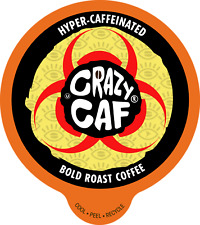Crazy Caff Extra Caffeine Bold Roast Coffee Single Cup for Keurig K Cup, 88 Ct