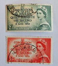AUSTRALIA ~ 1953 • Queen Elizabeth II  Coronation 3½d & 2/- «USED»