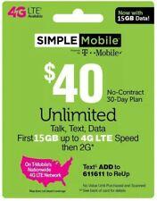 $40 SIMPLE MOBILE ReUp, Top-Up, Prepaid Card, PIN, RECHARGE