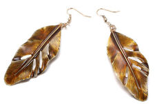 Brown Gold Enamel Etched Leaf Drop Dangle Earrings Statement Large Brass Autumn