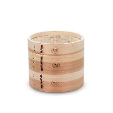 """Wood Bamboo Steamer 8"""" 3PCS Set 2 Deeper Dim Sum Basket Dumpling Bun Steamer NEW"""
