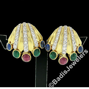 18K Gold 6.87ctw Cabochon Emerald Sapphire Ruby Diamond Crown Clip On Earrings