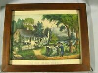 "ORIGINAL CURRIER & IVES LITHO PRINT ""THE OLD OAKEN BUCKET"" - HAND COLORED"