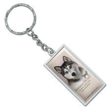 Siberian Husky Dog Breed Rectangle Chrome Plated Metal Keychain Key Chain