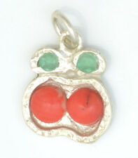 Handmade Vintage 925 Silver Pendant Charm 14mm A 00004000 pple & Genuine Emerald and Coral