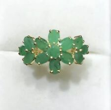 14k Solid Yellow Gold Oval Emerald Cluster Flower Ring 2.60 GM  Size 8