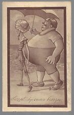 "1911 ""SWEPT BY OCEAN BREEZES"" ODD COUPLE ON BEACH COMICPICTURE POSTCARD - TAFT"