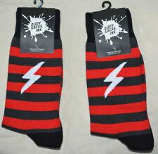 NEW Dirty Socks Ink. LIGHTNING BOLT accent designer FUN black 2 pairs 10-13  NWT