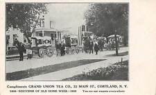 CORTLAND, NY, GRAND UNION TEA CO ADV PC, ITS WAGONS IN 1908 OLD HOME WEEK PARADE