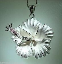 35mm Hawaiian Heavy 925 STER Silver High Detailed Hibiscus Flower CZ Pendant #2