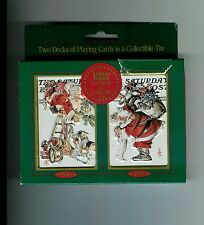 1997 Saturday Evening Post Collectible Christmas Playing Cards 2 DECKS in Tin