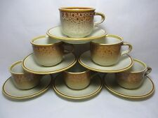 6 Vintage Mikasa Japan Natures Song C1050 Tea Cups & Saucer Frothy Beige Glaze