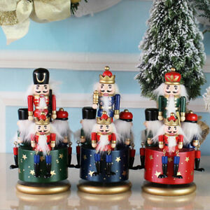Handpainted Wooden Nutcracker 4 Soldier Music Bell Christmas Decor Soldier Xmas