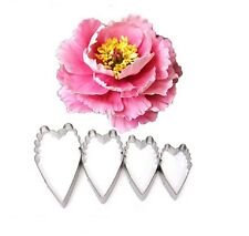 Long Carnation Peony Flower 4 piece Metal Cookie, Pastry Fondant Cutter Set
