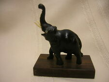 "Carved Elephant Figurine 2 1/4"" X 2 1/2"" X 1 1/4"" Altogether Black"