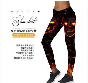 girl leggings Pants fire skull Printed Women Legging pant GA1001