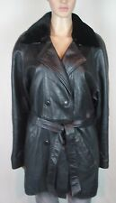 """Vintage Black leather thigh length coat with belt WEST WORLD size XL Chest 42"""""""