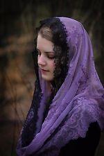 Evintage Veils~ LENT Purple & Black Lace Chapel Veil Mantilla Infinity Veil