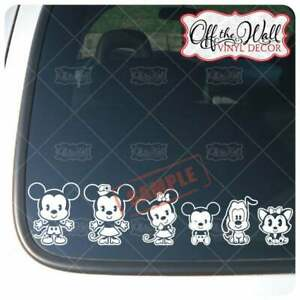 Mickey & Minnie Cutie Family [Set of 14] Vinyl Car Decal Sticker [WHITE ONLY]