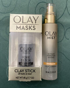 NEW Olay Mask Clay Stick Pore Detox Black Charcoal & Olay Mist Energizing Duo!!