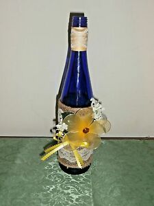 Decorative Wine Bottle Vase or Accent Piece, Blue with Yellow Floral Accent