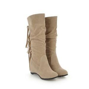 Women Tassels Mid Calf Snow Boots Ladies Winter Warm Wedge Heel Boots Shoes D